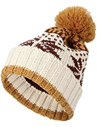 fa32eca5464 WITHMOONS Knit Fairs Isle Nordic Bobble Pom Beanie Hat JZP0026