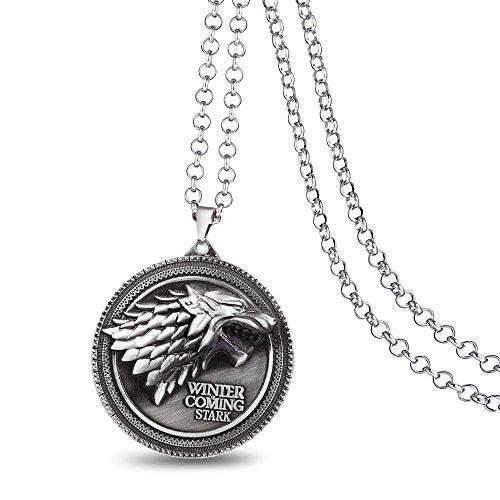 Kostüm Silver Wolf - Game of Thrones Stark Wolf Anhänger Halskette Kostüm Requisiten Schmuck