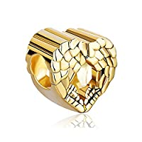 Uniqueen Jewellery New Style Angel Wing Heart Spacer Charms Beads Fit Bracelet (Gold Plated)