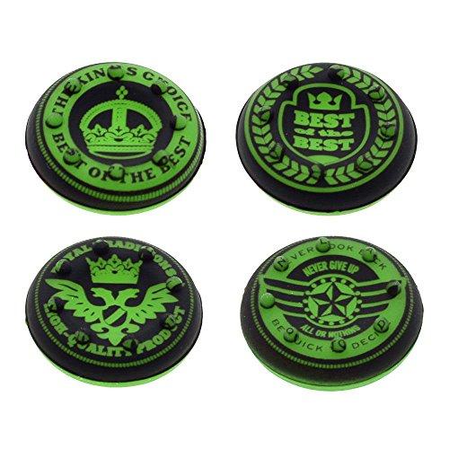 Preisvergleich Produktbild Zwei Paare krönen grünen Daumen Griff Silikonstab Abdeckkappe der Xbox PS4-Steuerung grün