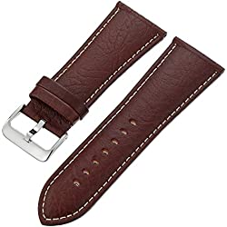 Hadley-Roma Men's MSM906RB-300 30-mm Brown Genuine Leather Watch Strap