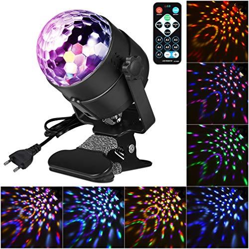 LEDGLE 6W Discokugel Party Disco Licht Musik Lichteffekt LED Party Licht RGB Bühnenlicht mit Fernbedienung, 3 Arbeitsmodi