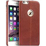 YGS Vorson Lexza Series Double Stitch Leather Shell with Metallic Logo Display Back Cover For Apple iPhone 6sPlus (Brown)