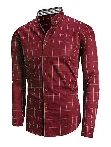 Schonlos Herren Hemd Kariert Kentkragen Langarm Shirts Regular Fit Businesshemd Freizeithemd Aus Baumwolle Rot