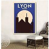 UDIYXC Lyon Vintage City Poster Leinwanddruck Wandkunst
