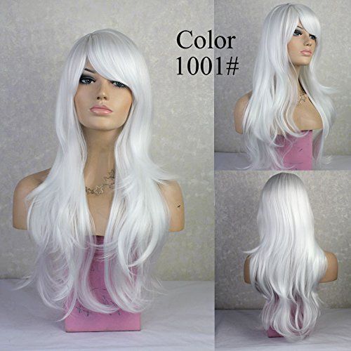 ellt grau gray synth Full Head Perücken Weiß Silber Damen Kostüm Cosplay Tägliche Party Kleid 100% natürliche Haar Perücke (Assistent Kostüm Damen)