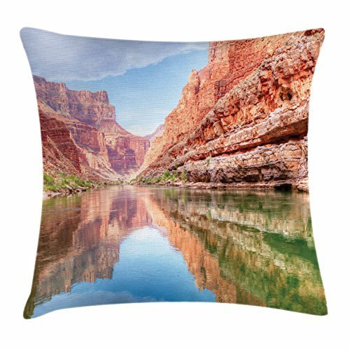 River Throw Pillow Cushion Cover, Colorado River with The Reflection of Grand Canyon Cliffs Summer Scenery, Decorative Square Accent Pillow Case, 18 X 18 Inches, Blue Burnt Sienna Green