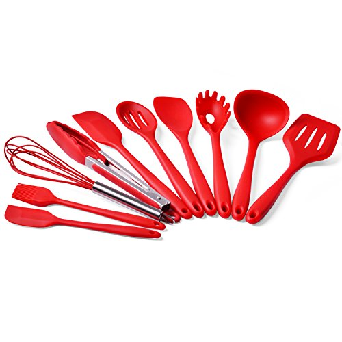 Kitchen Utensils,TWH 10 Silicone Utensils Sets, Home Baking Cooking Tools Cookware Gadgets Contains Pasta Fork,Spoonula,Tong,Slotted Spoon,Ladle,Turner,Large Spatula,Small Spatula,Basting Brush,Whisk (Red)