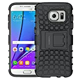 ALDHOFA Coque de Protection en TPU pour Samsung Galaxy S7 Double Couche Hybride avec Support pour Samsung Galaxy S7 Noir