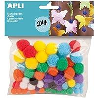 APLI - Bolsa pom pom colores surtidos, 78 uds