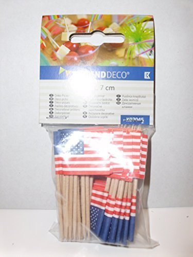 Kogler 50Stück USA Deco Picks in Tasche, Holz, Blau/Weiß/Rot, 30x 30x 7cm (Kleinen Garten Urlaub-flags)