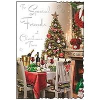 """Jonny Javelin Friends Christmas Card - Dinner Table, Fire & Xmas Tree 9"""" x 6.25"""""""