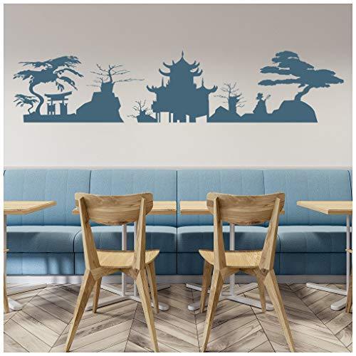 Azutura skyline giapponese adesivo murale giappone adesivo da parete soggiorno camera da letto home decor disponibile in 5 dimensioni e 25 colori x-grande argento metallizzato