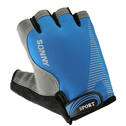 MedusaABCZeus Handschuhe krafttraining,Gerätetraining Gewichtheben Reck Riemenscheibe Kurzhantel halbe Finger rutschfeste Handschuhe -S_blau,handgelenkbandage Kraftsport