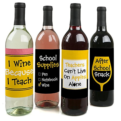 Etiquetas adhesivas para botella de vino con texto en inglés'Teacher Christmas Gifts for Women and Men', juego de 4 Best Teacher - Etiquetas para vino