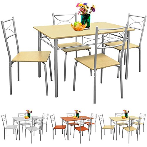 Sitzgruppe für Esszimmer Küche & Balkon ✔ 5 tlg - 4 Stühle & 1 Tisch ✔ Tischgruppe Essgruppe Esstischgruppe Balkonmöbel Balkon Sitzgruppe ✔ Modellauswahl - Buche
