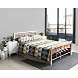 Aingoo Double Metal Bed Frame 4 ft 6 King Size Beds Solid Square Tubes Metal Platform with Headboard and Footboard, White