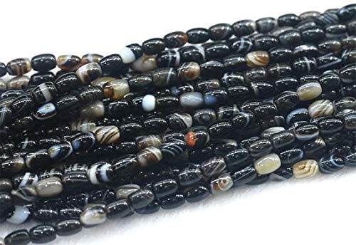 4x6mm Oval Bead (Jewel Beads Natural Beautiful jewellery 1 Strands Natural Onyx Black Lace Agate Rice Shape Loose Small Oval Beads 4x6mm 15