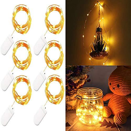 6 Satz-Gelb-Schnur-Licht Batteriebetriebene Schnur beleuchtet 7Ft / 2M 20 Micro LED feenhafte Schnur-Lichter auf 7ft Kupferdraht-Lichter für DIY Dekoration Kostüm Hochzeit Valentines Feiertags-Party- (Diy Valentine Kranz)