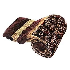 Little Inde Jaipuri Imprimé floral en velours pour lit double Marron