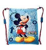 PERLETTI Schuhtaschen Micky Maus Wunderhaus für Kinder - Baby Turnbeutel undurchlässig - Mickey Mouse Clubhouse Sportsack Ideal für Reisen - Hellblau und Rot - 39x31 cm