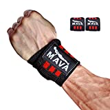 Wrist Wraps (1 Pair/2 Wraps) for Weightlifting/ Cross Training/ WOD/ Gym Workout/ Powerlifting/ Bodybuilding –14 inch long/ 3 inch wide -Heavy Duty-Strong Support with Velcro Closure - MAVA Unisex gear
