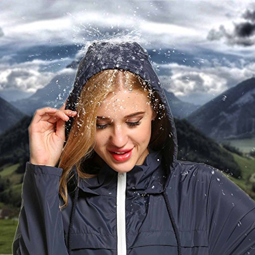 HOTOUCH Damen Regenjacke Regenmantel Regenparka Übergangsjacke Funktionsjacke Mit Kapuze Tasche Wasserdicht -