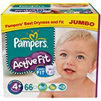 Pampers Active Fit Size 4+ (Maxi +) Jumbo Pack 66 Nappies (pack of 2)