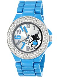 Disney Women's MK2077 Mickey Mouse Silver Dial Blue Enamel Bracelet Watch