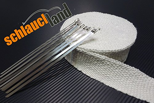 10m Keramik Hitzeschutzband 50mm weiss 1200°C + 10 Kabelbinder *** Heat Wrap Auspuff Hitzeschutz Krümmer Isolierband Wärmeschutz