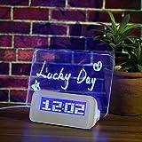 Baban Réveil à lumière douce intelligente + Stylo + USB, réveil numérique bleu avec ardoise et calendrier