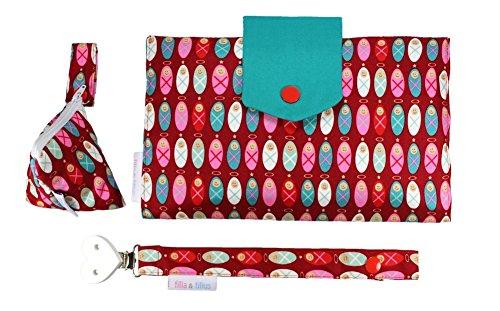 Filia & Filius borsa fasciatoio set di tre articoli borsa cambio pannolino astuccio e nastro porta ciuccio (angelo custode)