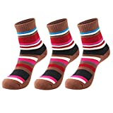 3 Pairs Women Walking Hiking Socks - No Blister, Breathable, Warm, Moisture Wicking, Full Terry Cushion Inside - for Outdoor Sports Running Trekking Cycling Camping Golf Gym-Ladies UK Size 3-7, Coffee