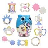 ANewborn Rattle Teether Baby Spielzeug - Hanmun SL84821 Neue Serie 10 Stück Neueste Rattle & Teether Gesunde ABS Kunststoff in OWL Aufbewahrungsbox Beste Geschenk Spielzeug für Neugeborenes Säugling Baby