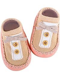 Cinnamou Suave Calcetines para Bebé con Decoración de Botón y Nudo del Arco Resbalón Antideslizante Zapatillas Primeros zapatos…