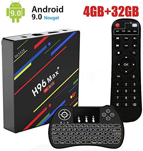 Android 9.0 TV Box,H96 Max+ Smart Box 4 Go de RAM et 32 Go de ROM Support 4K Ultra HD/2.4G WiFi/Vidéo Encodeur H.265/Bluetooth avec Mini Clavier sans Fil Rétroéclairé