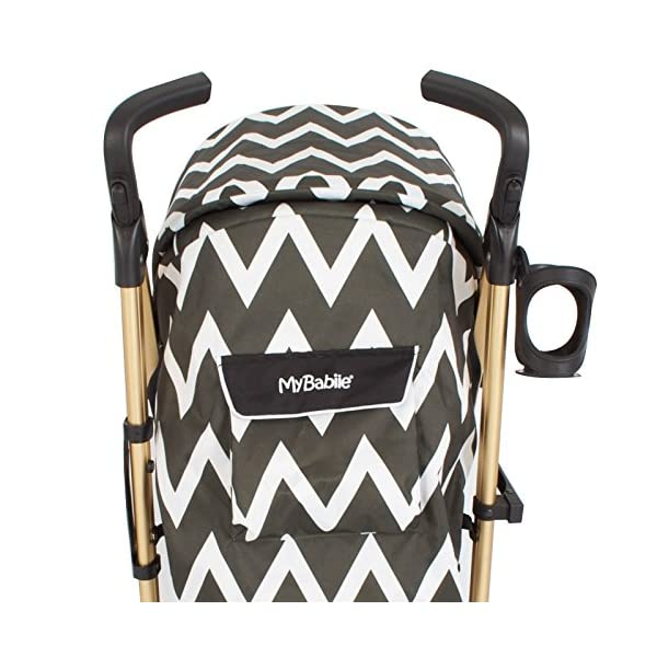 My Babiie MB51 Gold Chevron Stroller My Babiie Suitable from birth to maximum 15kg Extendable 3 position canopy Lockable swivel front wheels 3
