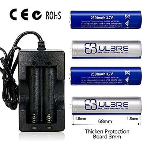 ULBRE Recahrgeable de 18650 batterie 4pcs avec Quick Charger(European Standard) 3.7V 2300mAh Li sur batterie pour les feux de la lampe de poche/projecteurs/tactique