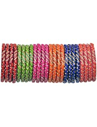 NMII Fashionable & Glossy Beads Design Pattern Glass Bangle Set Studded With Golden Zircon For Women & Girls On...