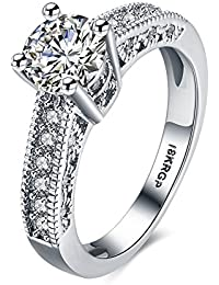 Yellow Chimes A5 Grade Crystals Micro Pave Setting Crystal Designer Silver Ring for Women and Girls (Silver) (YCSWRG-822C-SL_Silver)