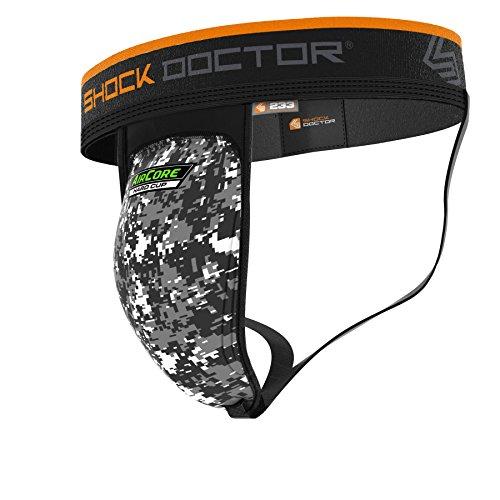 Shock Doctor Sport-Jock mit Aircore-Schutzschale, für Jugendliche und Erwachsene, Jungen, Schwarz/Camoufalge, Boys- XLarge -