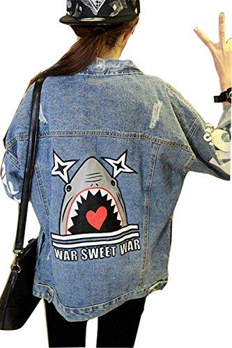 Minetom BF Denim Giacca da Donna Stampa Giacca di Jeans Capispalla Outerwear Giubbino Corto Top Shark One size fit IT38-IT40