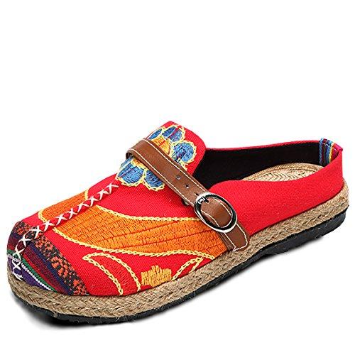 Bestickte Espadrilles, Tezoo Traditioneller Peking-Stil Schuhe, Sonne-Blume Sommer Pantoletten, aus Leinen, Damen Bequeme Flache Schuhe, Niedrige Pantoffel, Garten Bunte Schuhe Rot 43 (Leinen Espadrilles)