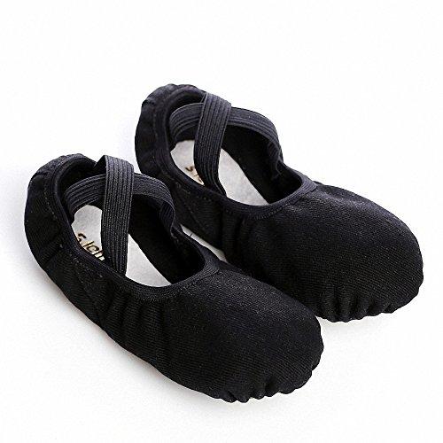 s.lemon Durable elástico suave lona ballet zapatos de baile para niños niñas mujeres hombres en negro blanco rosa colores marrón, desde niños pequeños hasta adultos tamaños negro