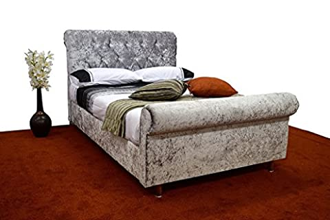 ROMANY DOUBLE SLEIGH STYLE CRUSHED VELVET DIAMANTE BED FRAME IN SILVER, BLACK & CHAMPAGNE