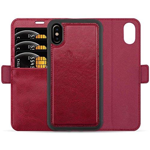 E-Tree Coque + étui magnétique pour iPhone X / iPhone 10, protection RFID, en simili-cuir haut de gamme Détachable Détachable Housse - Rose rouge