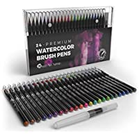 Castle Art Supplies Watercolor Brush Set-24 penne vibrante pennarelli con punta flessibile spazzola in nylon per colorare, calligrafia, disegno e scrittura,non tossico, include extra Water Brush Pen