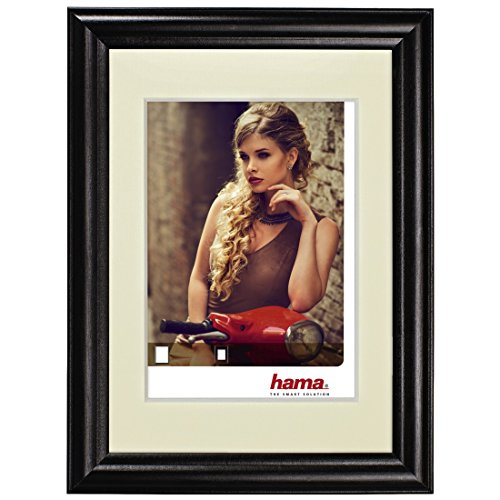 Hama Bellina Black Single Picture Frame-Picture Frames (Glass, Wood, Black, Single Picture Frame, 13x 18cm, Reflective, Landscape/Portrait).