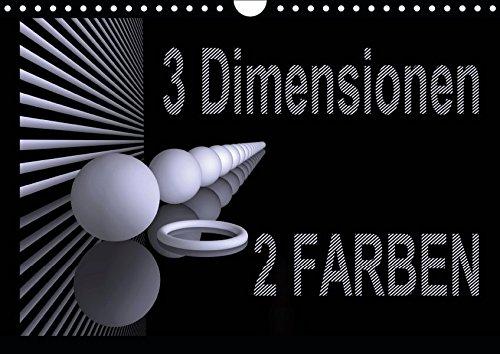 3 Dimensionen - 2 Farben (Wandkalender 2019 DIN A4 quer): Dreidimensionale Flächen im OpArt-Design (Monatskalender, 14 Seiten ) (CALVENDO Kunst)