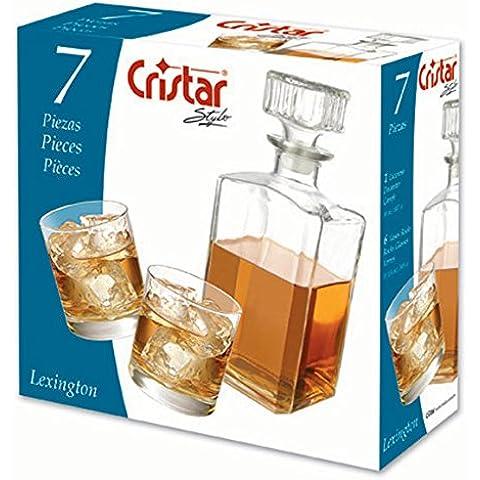 Marca 5080105 Blason 7 piezas Vasos de whisky con el perchero transparente de porcelana 30 x 22 x 30,5 cm